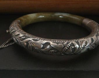 Vintage Chinese Sterling Silver Jade Bracelet // Chinese Export Silver Hinged Bangle // Vintage jewelry