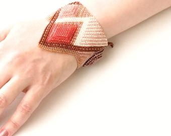 Pastel Geometric 3D Bracelet Cuff Bracelet Geometric Jewelry 3D Jewelry Modern Contemporary Jewelry Bead Woven Bracelet  Beaded Jewelry