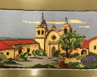 Vintage finished needlepoint, California mission, 10 by 17 inches retro decor