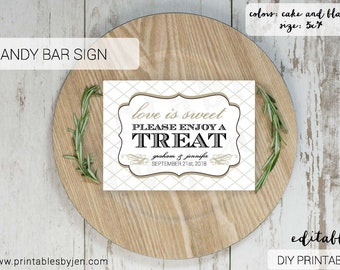 Candy Bar Sign  |  Editable DIY Printable  |  Love is Sweet Take a Treat | Cake and Black