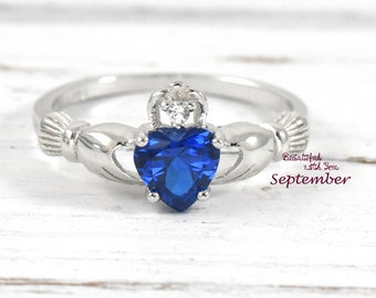 Womens Claddagh Ring Irish Claddagh Ring Sterling Womens Silver Wedding Band Promise Ring for Her Blue Sapphire CZ September Birthstone Ring