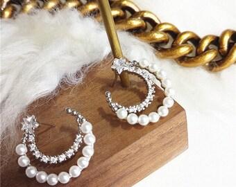 Pearl Moon CZ star Earrings Half Circle Earrings Gifts for Her