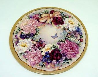 "Lena Lui; Cork Backed; Trivet for a Tea Pot; 7.5""Round; Stunning Florals !!!"