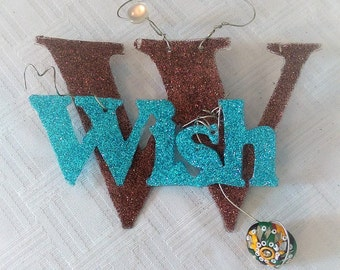 Glitterbit: Make a Wish, Glitter Bit, Gift Tag, Cake Topper, Words of Encouragement, Package Topper, Handmade Gitter Tag, Wish Sign, Wish