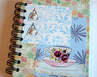Multi-Colored Flowers and Teacups Blank Spiral Journal