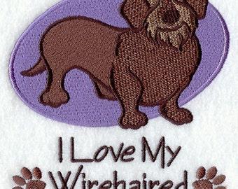 I Love My Wirehaired Daschund Embroidered Flour Sack Hand/Dish Towel