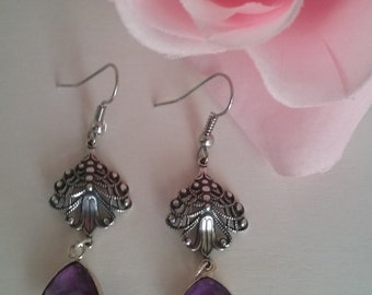 Amethyst Earrings-Genuine Purple Gemstones with Silver Filigree-February Birthstone