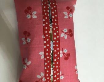 Tissue holder- Cherries on pink- red polka dot trim