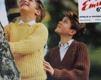 Sweater Knitting Pattern Children Six Sizes 24 to 34 Inches Emu 6084 Vintage Paper Original NOT a PDF