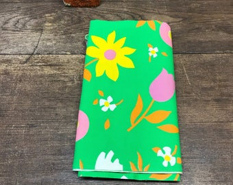 Vintage Fabric Floral Retro Colorful Bright