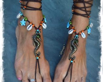 Cowrie Shell Seahorse BAREFOOT sandals Starfish charm Beach Wedding sandal Ocean jewelry Nature lover Happy Boho crochet foot jewelry GPyoga