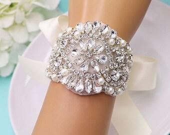 Rhinestone Crystal Bridal bracelet, Applique wedding bracelet, rhinestone crystal bracelet, crystal bracelet, bridal bracelet 513717817