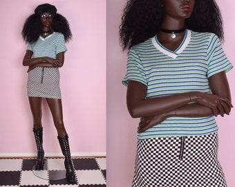 90s Colorful Striped Ribbed Shirt/ Medium/ 1990s/ Short Sleeve