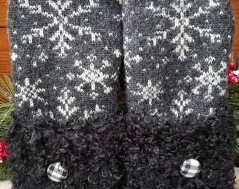 Warm Cozy 100% Wool Upcycled Repurposed Sweater Mittens Fully Lined With Blizzard Fleece Charcoal Grey Black Snowflake Black Faux Fur Cuff