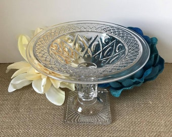 Footed Compote, Cape Cod Clear, Imperial Glass, Ohio, Vintage Glass Compote, Pedestal Candy Dish, Bowl, Soap Dish, Candle Holder
