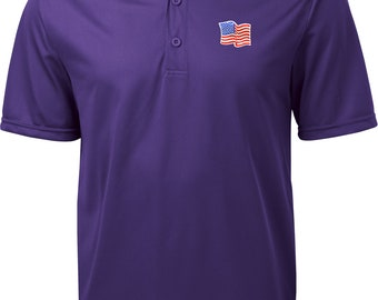 More colors. Men\u0027s USA Waving Flag Patch Pocket Print Textured Polo Tee ...