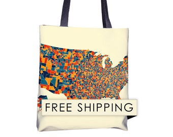 United States Map Tote Bag - United States Map Map Tote Bag 15x15