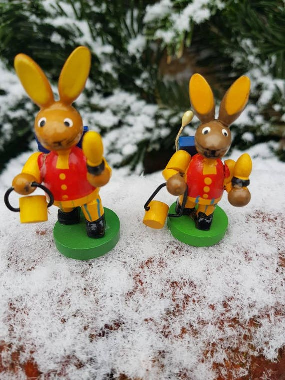 Busy Bunnies Erzgebirge Folk Art Vintage German Handmade Wooden Toy Rabbit Miniature Figurines