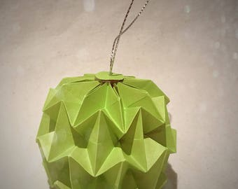 Handmade Origami Lime Green Paper Bauble Christmas Tree Decoration