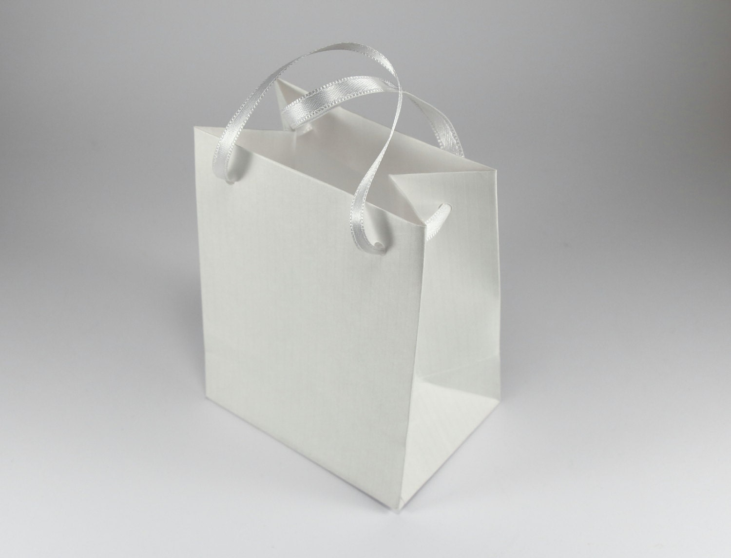 10 Gift Bags - extra small, mini, white paper, ribbon handles, Baby ...