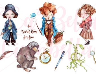 Fantastic beasts watercolors hand painted clip art . 9 PNGs + 1 secret item 300 dpi to create your greeting cards, stickers and more!