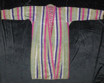 Long, traditional, Uzbekistan, striped, chapan, coat, robe #164