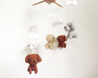 Labrador Puppy Crochet Baby Mobile, Dog baby mobile, Nursery decor,Dog crochet mobile, Labrador baby mobile, Baby Shower Gift