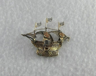 ON SALE Gold over Silver Sterling Filigree Boat Ship Brooch Pin