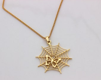 Solid 14k gold necklace, Spiderweb necklace, Butterfly necklace, Gold 14K pendant, Necklace 14K solid gold
