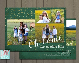 Christmas Holiday Photo Card, Green Glitter, Come Let us adore Him - PRINTABLE DIGITAL FILE - 5x7 Includes red backside.