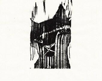 "Original Woodcut Cat Art Handmade Limited Edition Print ""02.10-Contemplate"""