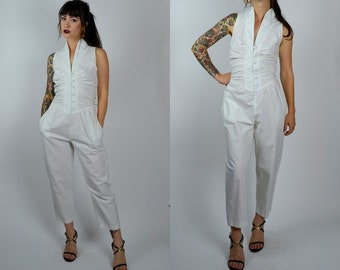 Resort | Small-Medium | 1980s Vintage White Cotton Jumpsuit 80s Button Down Smocked Top