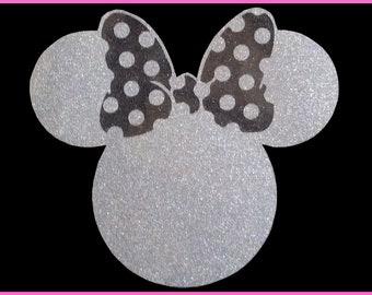 Disney Glitter Minnie Iron on with Castle T-Shirt Transfer Easy DIY Iron On Glitter Vinyl T-Shirt Glitter Transfer Sparkly Glitter Transfer