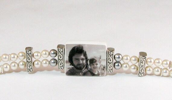 Vintage Style Pearl Photo Charm Bracelet - P2B2