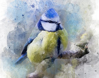 Watercolor small bird art print