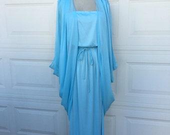 bretelles 1970s 1980s vintage bleu semi sheer spaghetti robe de déesse drapé grec avec correspondance taille veste S