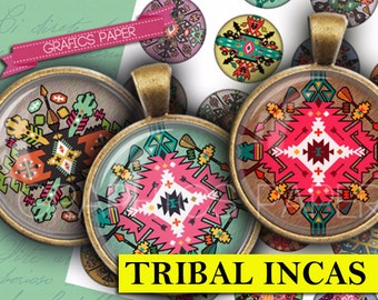 "Tribal marks incas - digital collage sheet - td265 - 1.5"", 1.25"", 30mm, 1 inch circles - Printable Images - Round for Pendants, magnets"