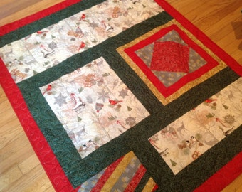 Christmas holiday winter cotton lap quilt,sled,skates, pinecones,trees, deer, Cardinal, icicles, red,green, white,gold,snowflakes, 46x58 in.