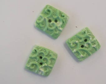 set of 3 large square green of water Fimo