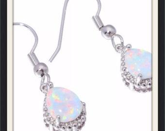 White Fire Opal Crystal Dangle Earrings