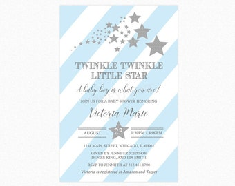 Twinkle Twinkle Little Star Baby Shower Invitation, Star Baby Shower Invitation, Blue, Silver Glitter, Personalized, Printable or Printed