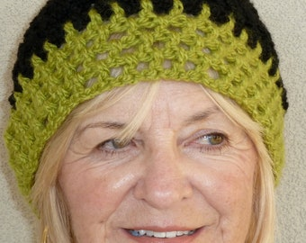 Women's chemo hat, black and green crochet hat, hat for indoors or outdoors, unique lightweight skullcap, comfortable and chic, gift for her