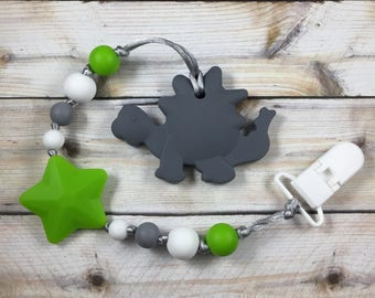 Adorable Grey Dinosaur Teether