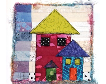 Mixed Media Fiber Collage House