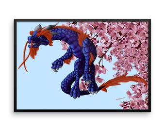 Flying Through the Cherry Blossoms Framed Poster