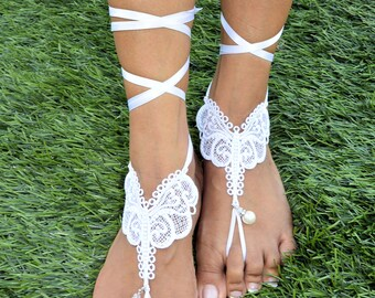 Lace Barefoot Sandals.  Beautiful elegant butterfly barefoot sandals for beach wedding.  Destination Wedding.  Bridesmaids' Gifts.