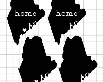 "Vinyl Decal - Maine ""Home"" & Heart"
