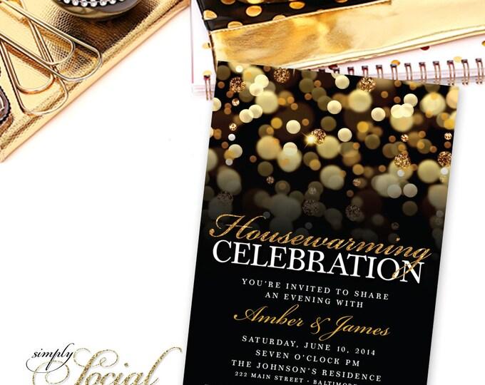 Housewarming Party Invitation. New House invite. Moving Invitations. Gold Glitter Bokeh PRINTABLE