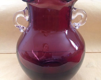 """Vintage Amethyst Glass Vase Ruffled Top and Applied Clear Handles 7 1/2"""" tall"""