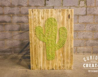 Giant Cactus String Art Pallet Wood Rustic Upcycle